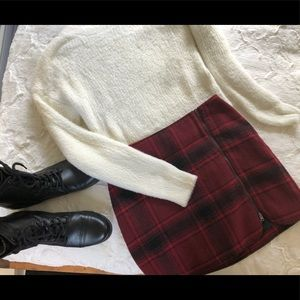 Hollister small wool plaid tartan miniskirt zip